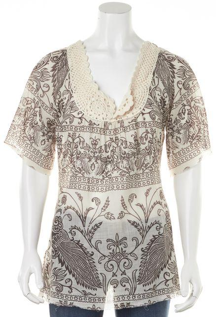 JOIE Beige Cream Crochet Paisley Print Sheer 3/4 Sleeve Blouse