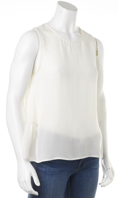 JOIE White Silk Sheer Sleeveless Ruffle Hem Blouse