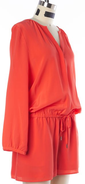 JOIE Orange Silk Drawstring Waist Button Front Long Sleeve Blouson Romper
