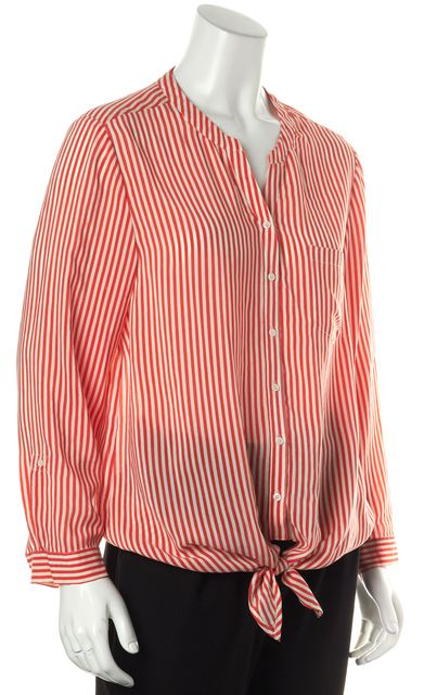 JOIE Red White Striped Silk Long Sleeve Button Down Tie Front Blouse Top