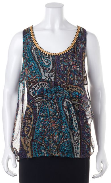 JOIE Multi-color Paisley Print Bead Embellished Silk Tank Top