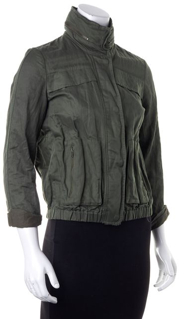 JOIE Green Military Style Zipped Pockets Hooded Lightweight Jacket