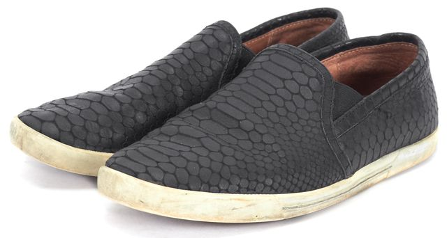 JOIE Black Snake Embossed Textured Print Leather Casual Slip-on Sneakers