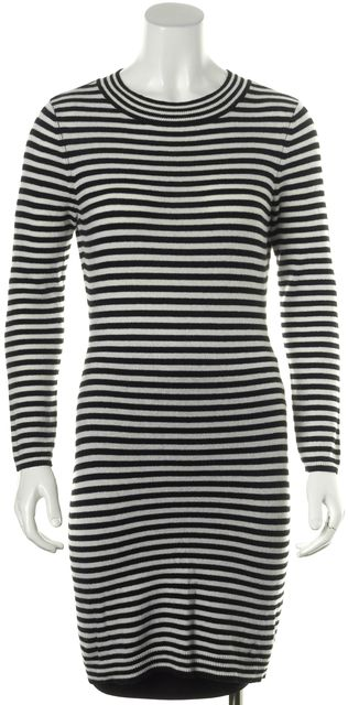 JOIE Black White Striped Wool Knit Sheath Sweater Dress