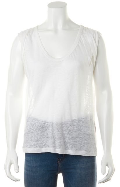 JOIE White Linen Relaxed FitScoop Neck Knit Top