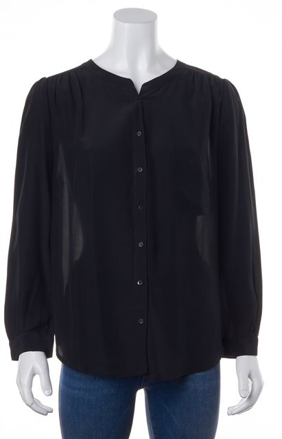 JOIE Black Silk Sheer Back Long Sleeve Relaxed Fit Blouse Top