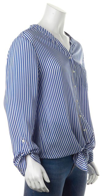 JOIE Blue White Striped Silk Relaxed Fit Button Front Tie Blouse Top