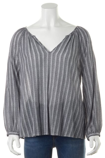 JOIE Navy Blue White Geometric Print V-Neck Relaxed Fit Blouse