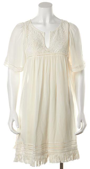 JOIE Ivory Embroidered Sheer Silk Fringe Trim Tunic Shift Mini Dress