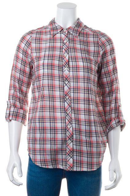 JOIE Pink Navy Plaid Punch Moshina B Button Down Shirt Top