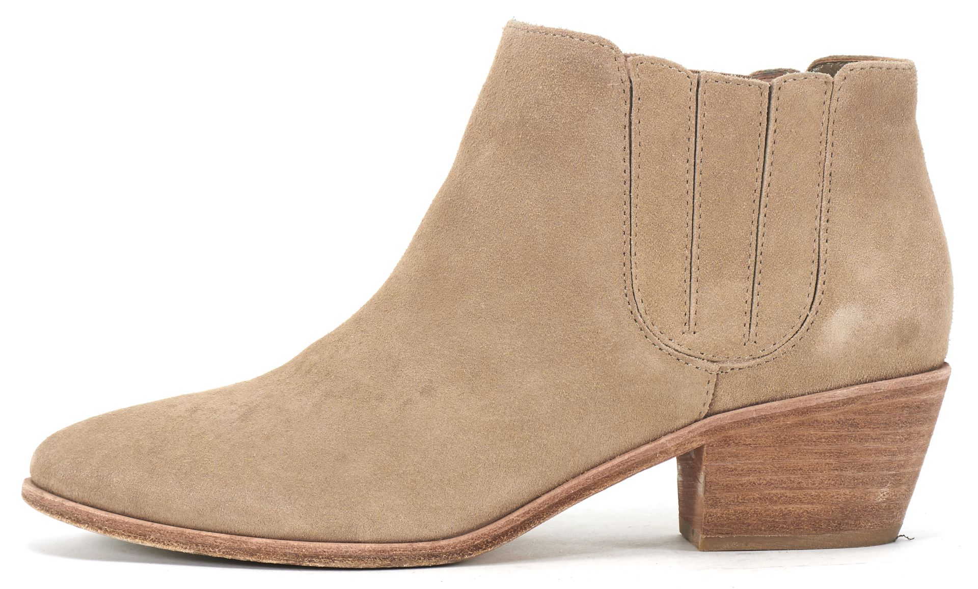 Joie Beige Suede Almond Toe Stacked Low Heel Ankle Boots ...
