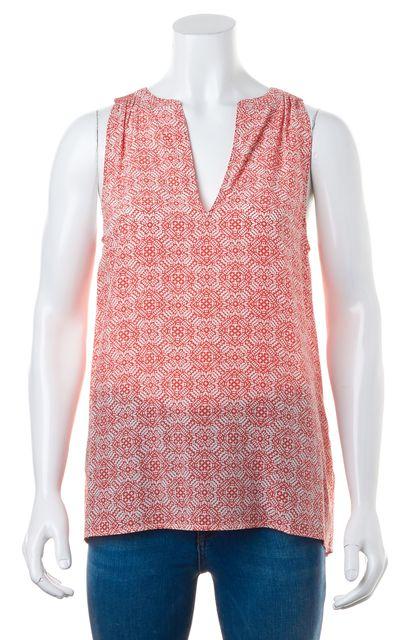 JOIE Orange White Abstract Silk V-Neck Sleeveless Summer Blouse Top