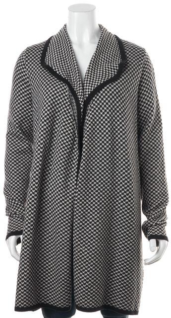 JOIE Black Black Ivory Geometric Knit Wool Sweatercoat