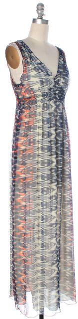 JOIE Blue Ivory Orange Abstract Printed Silk V-Neck Sleeveless Maxi Dress