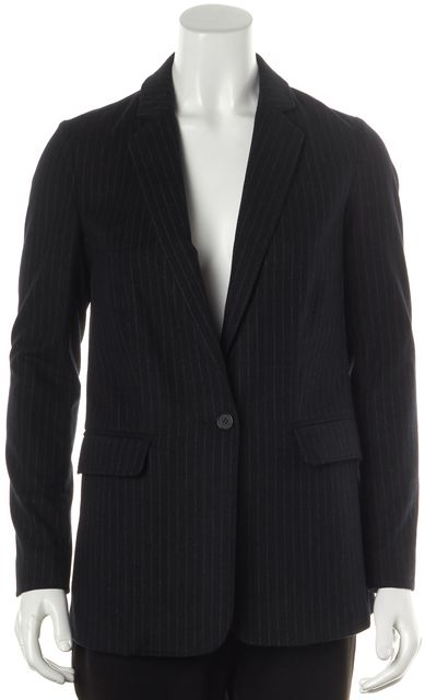 JOIE Navy Blue Striped Hannae Relaxed Fit One Button Basic Jacket