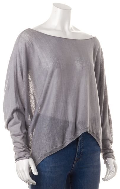 JOIE Gray Semi Sheer Linen Relaxed Fit Dolman Sleeves Knit Top