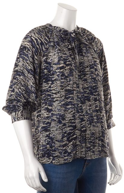JOIE Blue Gray Abstract Printed Silk Pleated 3/4 Sleeves Blouse Top