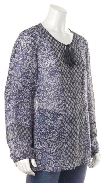 JOIE Blue Ebony Shadow Lily Paisley Sheer Silk Germinia Blouse Top