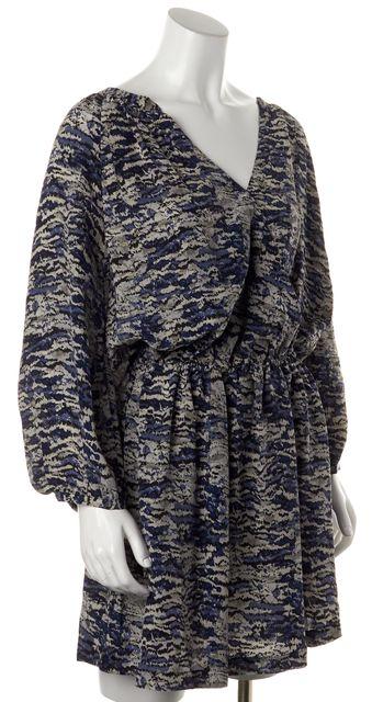 JOIE Blue Gray Abstract Printed Silk Blouson Wrap Style Mini Dress