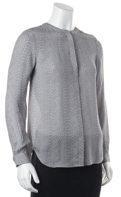 JOIE Casual Gray Animal Print Silk Blouse Top