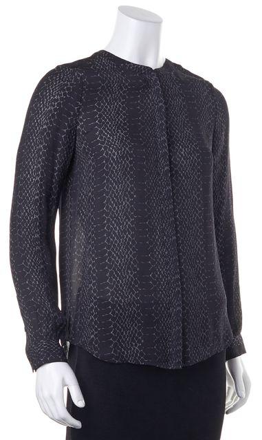 JOIE Casual Black Animal Print Silk Blouse Top