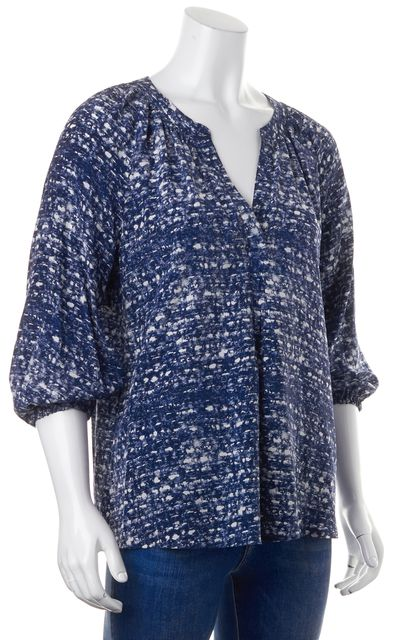JOIE Blue White Abstract Print Silk V-Neck Long Sleeve Blouse Top
