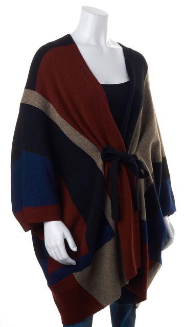 JOIE Black Red Blue Colorblock Wool Kimono Sleeve Cardigan