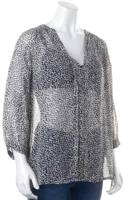 JOIE Silk Black Gray Animal Print Long Sleeve Blouse