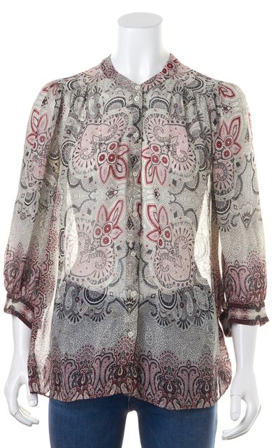 JOIE Silk Gray Red Paisley 3/4 Sleeve Blouse