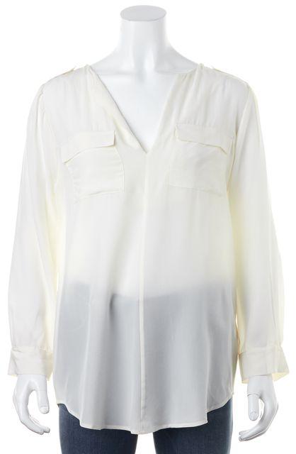 JOIE Ivory Silk V-Neck Long Sleeve Semi Sheer Blouse