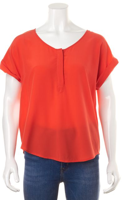 JOIE Coral Front Button Short Sleeve Silk Blouse