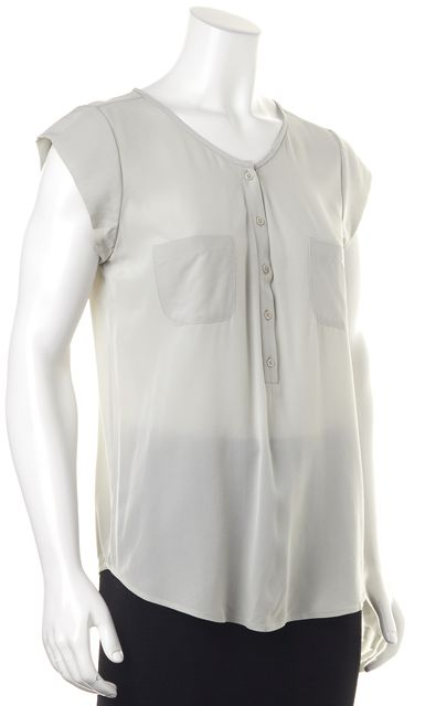 JOIE Gray Silk Pocket Front Button Cap Sleeve Blouse