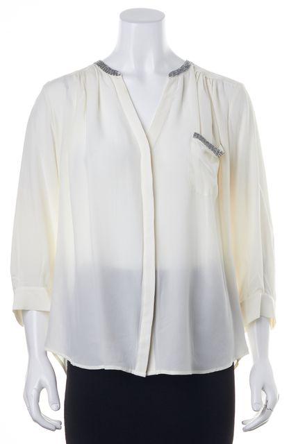 JOIE Ivory Silk Embellished 3/4 Blouse