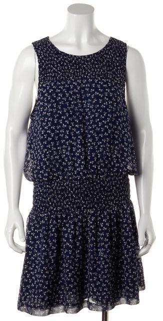 JOIE Navy Blue White Floral Printed Silk Sleeveless Blouson Dress