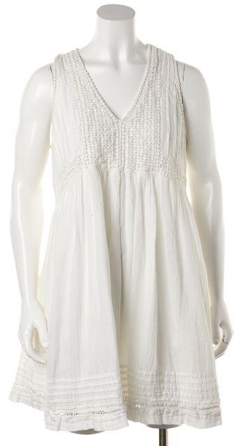 JOIE White Embroidered Cotton Sleeveless V-Neck Mini Shift Dress
