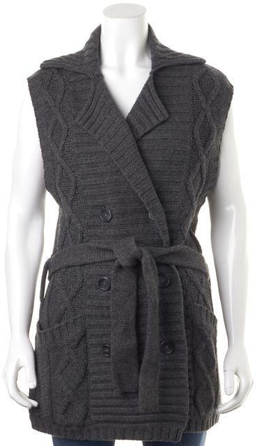 JOIE Gray Cable Knit Cashmere Sleeveless Cardigan Sweater