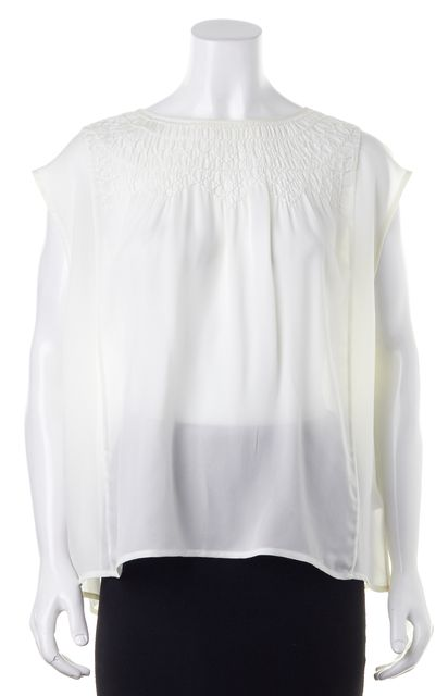 JOIE Ivory Silk Sleeveless Boxy Semi Sheer Summer Blouse