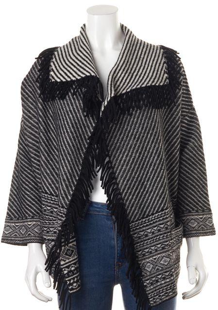 JOIE Black White Geometric Knit Wool Fringe Cardigan