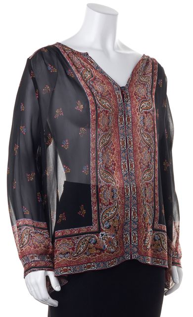 JOIE Black Red Gold Abstract Silk V-Neck Semi Sheer Blouse
