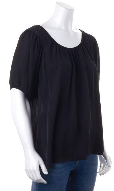 JOIE Black Silk Crochet Trim Short Sleeve Pleated Blouse
