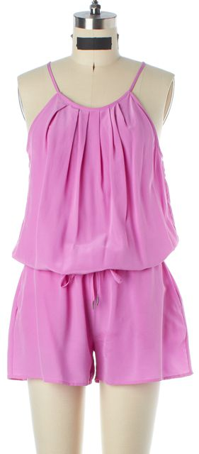JOIE Pink Silk Pleated Thin Strap Blouson Jumpsuit/ Romper