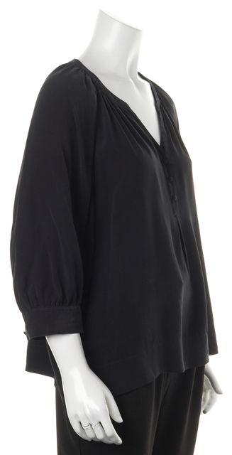 JOIE Black Silk Balloon Sleeve Half Button V-Neck Blouse