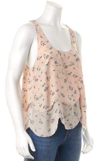 JOIE Pink Floral Printed Silk Sleeveless Layered Scalloped Hem Tank Top