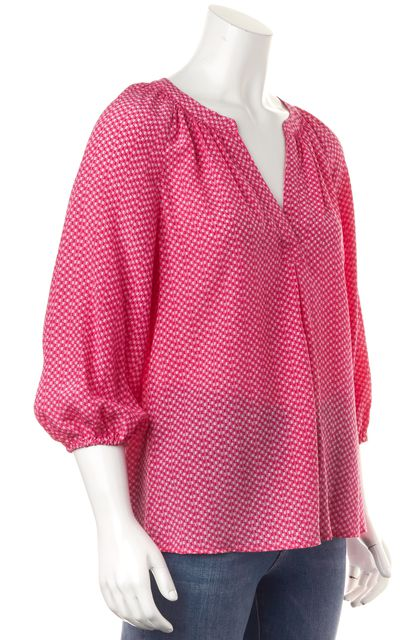 JOIE Pink White Mini Check Printed Silk Blouson Top