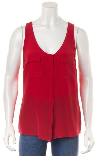JOIE Red Silk Hidden Placket Button Down Sleeveless Scoop Blouse Tank Top