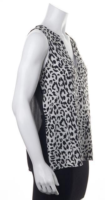 JOIE Black White Animal Printed Silk Sheer Back Sleeveless Blouse