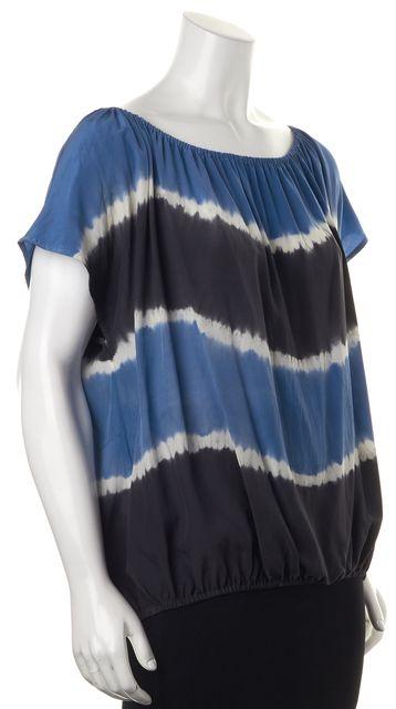 JOIE Blue Black White Tie Dye Silk Elastic Waist Blouse