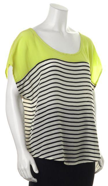 JOIE Neon Green White Black Striped Silk Semi Sheer Blouse Top