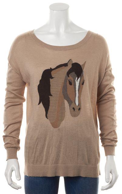 JOIE Beige Brown Horse Printed Long Sleeve Scoop Neck Sweater