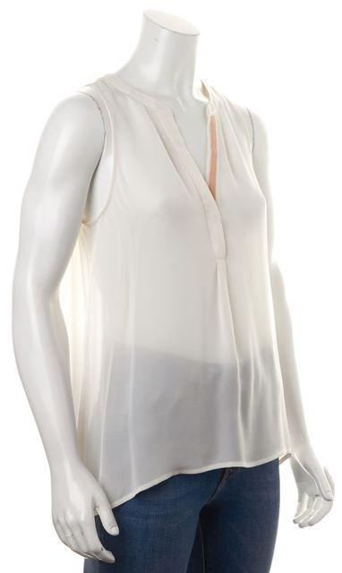 JOIE White Beige Silk Sleeveless Pleated Back Semi Sheer Blouse